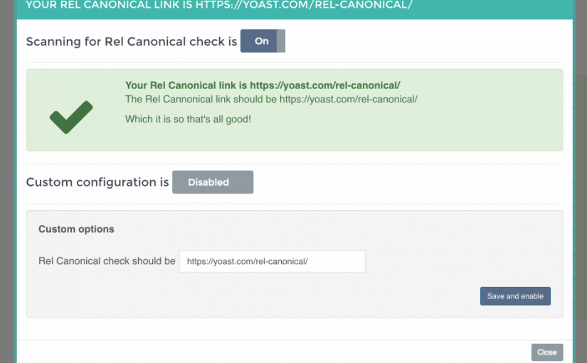 "rel=""canonical"" Detection now active!"